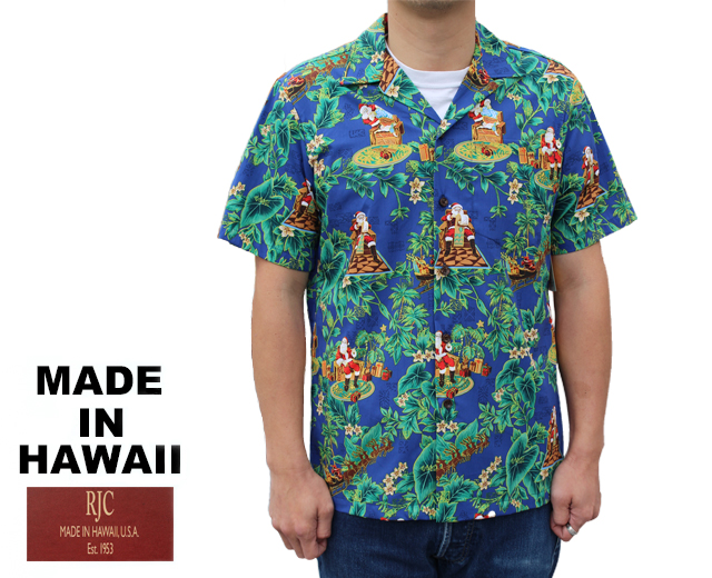RJC ロバート・J・クランシー アロハシャツ サンタクロース クリスマス ハワイ製 ネイビー