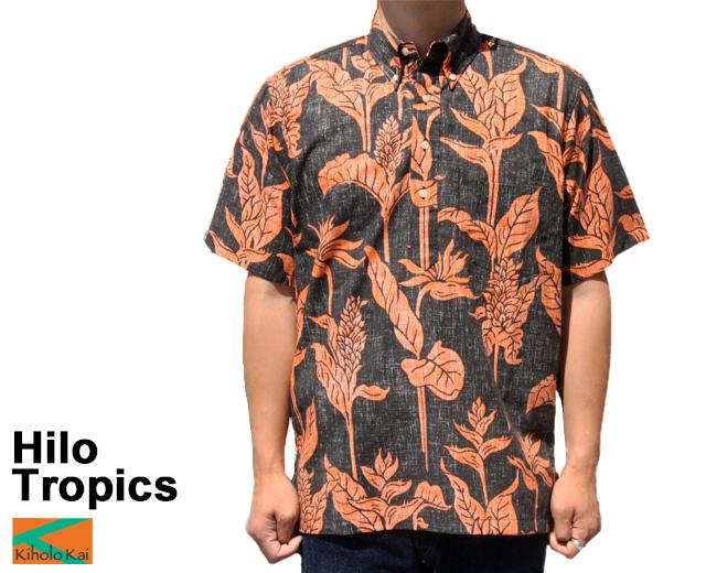 Kiholo Kai キホロカイ アロハシャツ ヒロトロピクス Hilo Tropics フルオープン プルオーバー ハワイ製 黒 ブラック