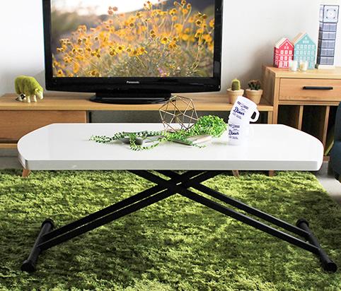 無段階調節 リフティングテーブル ツヤ 白 高さ25-72cm 奥行60 リフトテーブル 艶 つや ホワイト モダン 昇降式テーブル 幅120 昇降テーブル【一部地域/送料別】