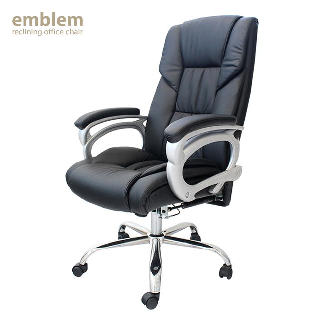 【送料無料】リクライニングオフィスチェアー デスクチェア イス 椅子 いす パソコンデスクチェア ブラック シンプル リクライニング PUレザー スチール製脚 キャスター付き ウレタンフォーム