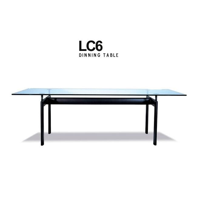 【送料無料】ル・コルビジェ LC6 ターブチューブダビオン 幅225cm 強化ガラス15mm 設置配送 テーブル ダイニングテーブル ミーティングテーブル オフィス 会議テーブル デザイナーズテーブル