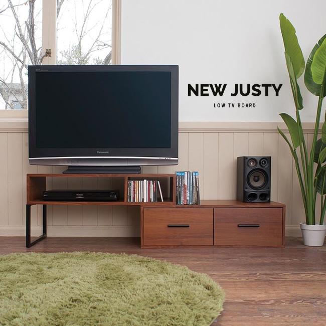 テレビボード テレビ台 TV台 伸縮式 83~153cm ウォールナット木目 スチール フリーボード ローボード リビングボード new justy