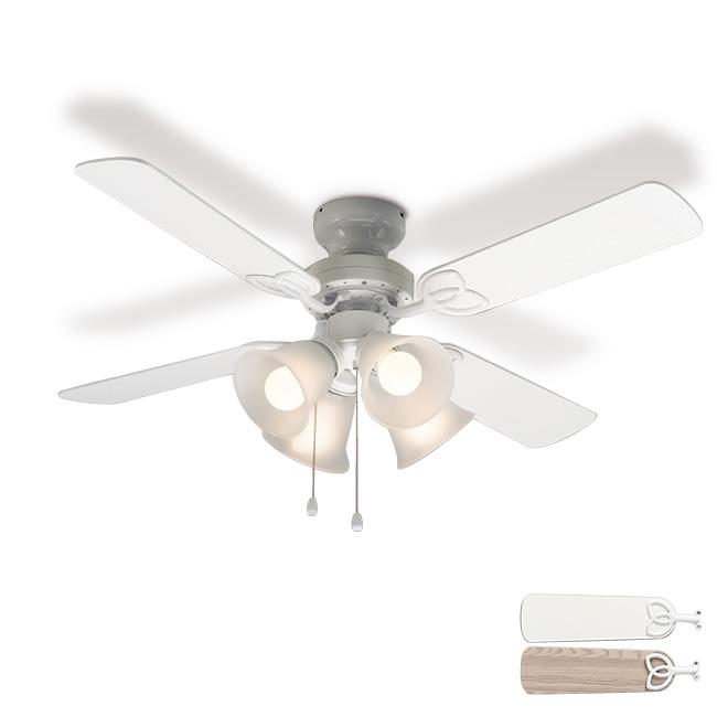 【送料無料】 シーリングファン シーリングファンライト LED対応 4灯 プルスイッチ リビング リモコンなし リバーシブル羽根 ホワイト 白 おしゃれ 畳 電球別売