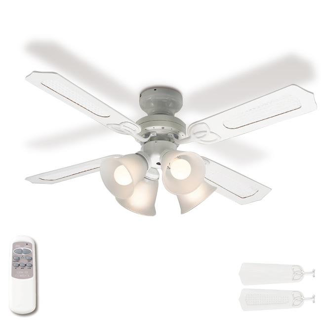 【送料無料】 シーリングファン シーリングファンライト 4灯 リモコン ホワイト 白 連続調光 白熱電球付き リバーシブル羽根 畳 おしゃれ ※LED電球使用不可