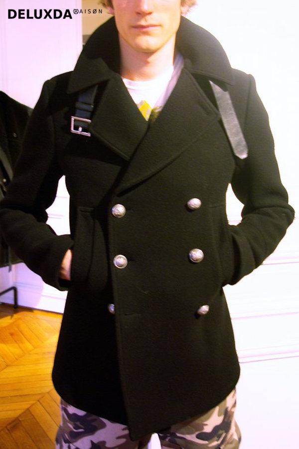 ■40%OFF【正規代理店商品】BALMAIN バルマン AW  ベルト 付き ピーコート コート ブラック 14.15