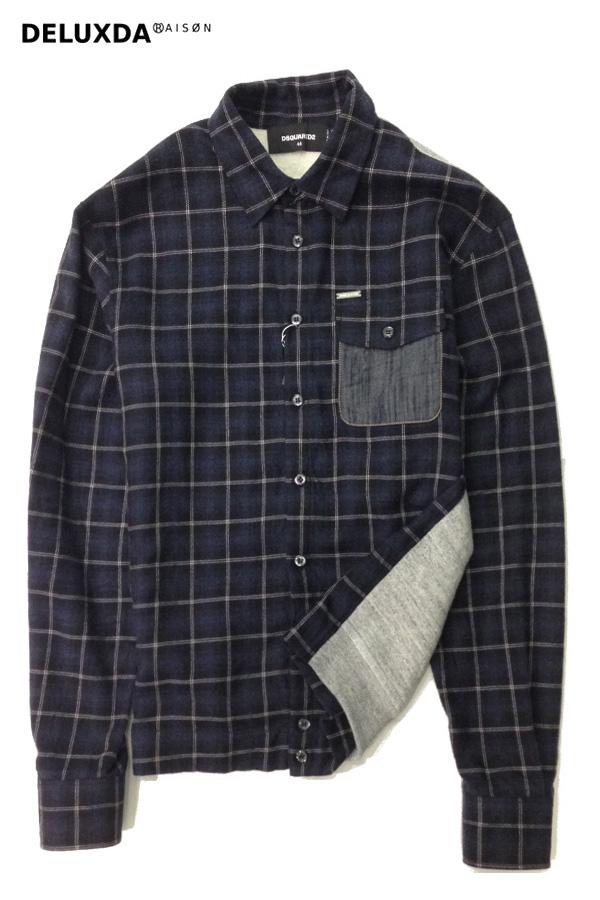 【正規代理店商品】DSQUARED2 ディースクエアード 裏面スウェット切り返し チェックシャツ ネイビー
