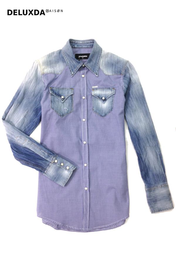 【正規代理店商品】DSQUARED2 ディースクエアード 切り返し ダンガリーシャツ S74DL0701-BLUE