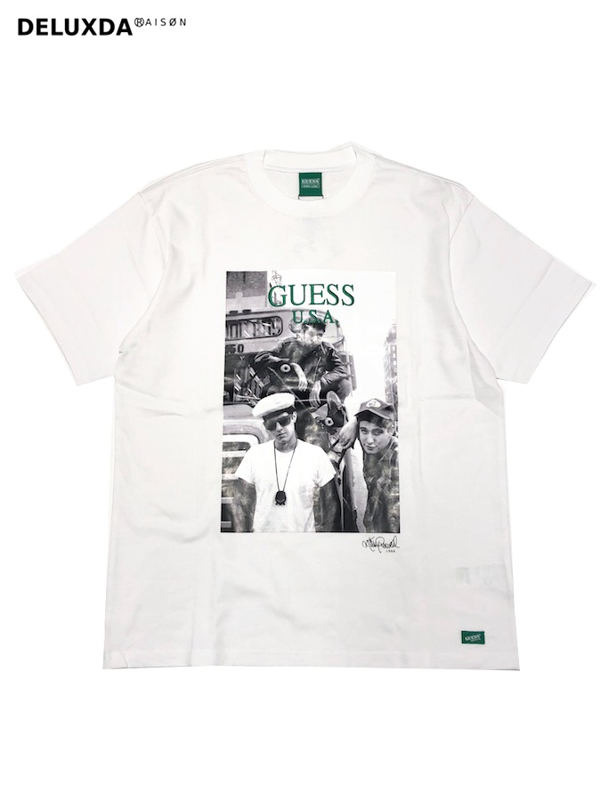 【GUESS GREEN LABEL】GRFW19-048  WHITE       GUESS × Ricky Powell (ゲス リッキーパウエル)】 Beastie Boys P1 TEE (ビースティーボーイズ Tシャツ)