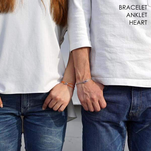 誕生石 ハート LOVE コード ブレスレット or アンクレット シルバーカラー カップルペアに最適 ステンレス アレルギーフリー メンズ レディース 刻印 名入れ APZ0005-SH