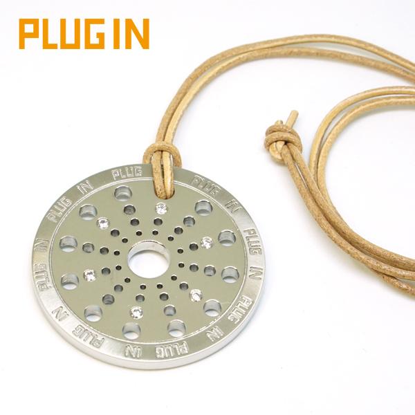 特大トップ レザー ネックレス アレルギーフリー ステンレス キュービックジルコニア パンチング アレルギーフリー PLUG IN BIG PIP0104-CZ メンズ レディース