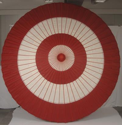 【送料込み!改定価格】本式野点傘 5尺 (緑白、赤白)