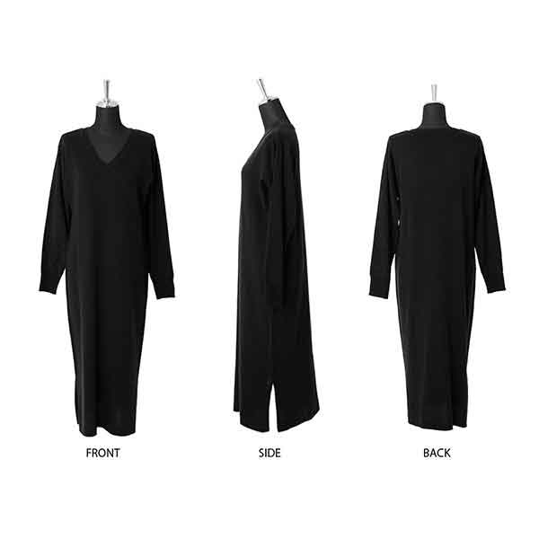 776a3aa11dee Latest cashmere touch V neck long knit dress   slit tops knit tops long  sleeves outer ribbon waist りぼん long long dress emboss material long shot  length ...
