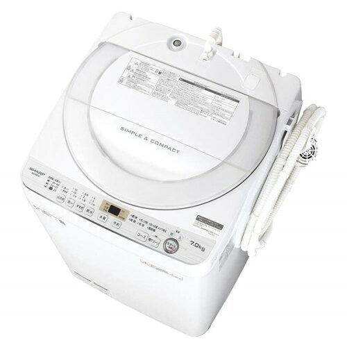 SHARP シャープ【ES-GE7C-W】ESGE7C-W 全自動 洗濯機 7kg ステンレス 穴なし槽 ホワイト系【KK9N0D18P】