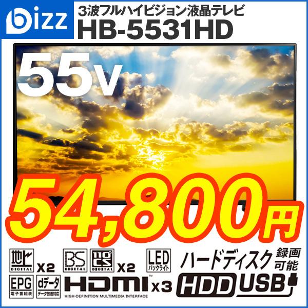 bizz 55V型 3波WチューナーデジタルフルハイビジョンLED液晶テレビ HB-5531HD
