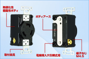 아메리칸 전기 3310-L5UL | 인괘형 매입 콘센트(UL/CSA 규격 인정 사양) 접지 2 P 30 A 125 V