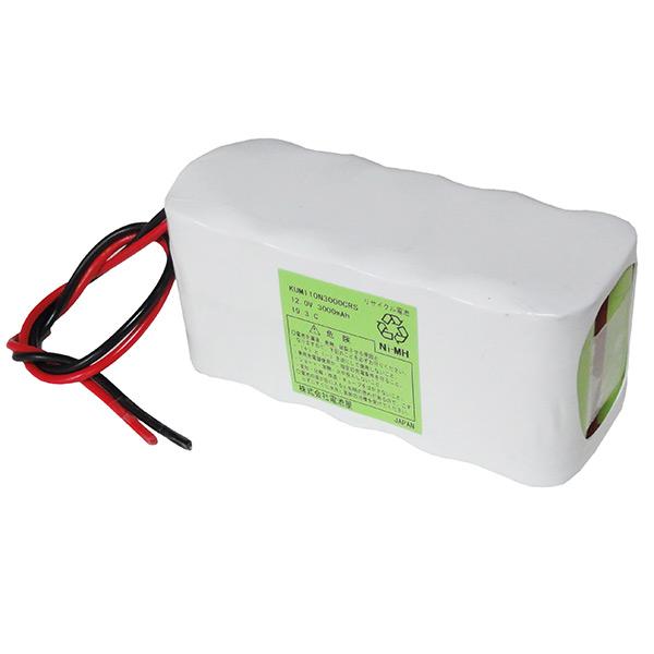 10N3000CR 相当品 ※組電池製作バッテリー 医療用機器 ポータブル電源 等用 12V3000mAh ニッケル水素 W型 リード線のみ
