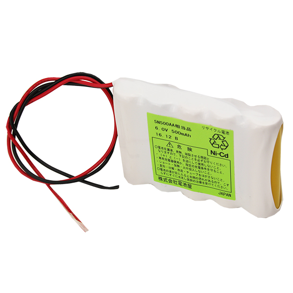 5N500AA 相当品 SANYO製相当品 ※組電池製作バッテリー アツミ電気 総合盤非常用バッテリー 等用 6V500mAh