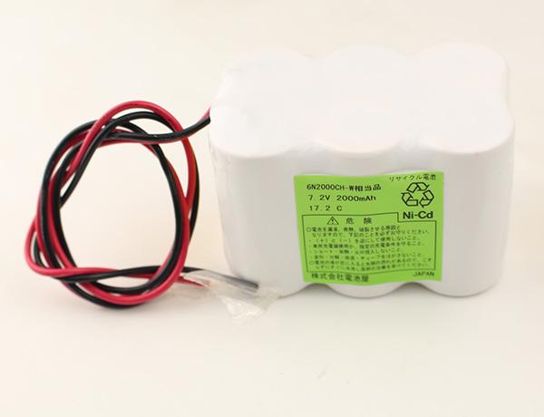6N2000CH-W相当品 7.2V 2000mAh ニッカド W型 リード線のみ ※組電池製作バッテリー