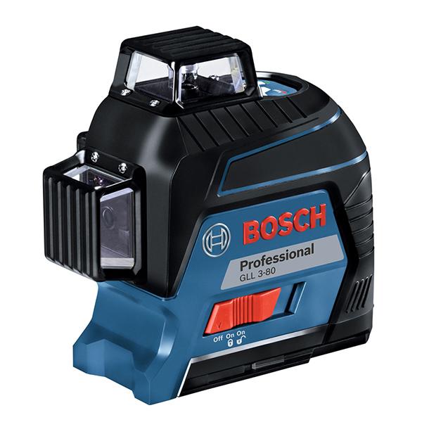 GLL 3-80KIT ボッシュ(BOSCH) レーザー墨出し器 [水平4ライン、垂直4ライン、鉛直、地墨(クロスライン)](ターゲットパネル、ポーチ、キャリングケース、ウォールマウント、受光器、受光器ホルダー付)