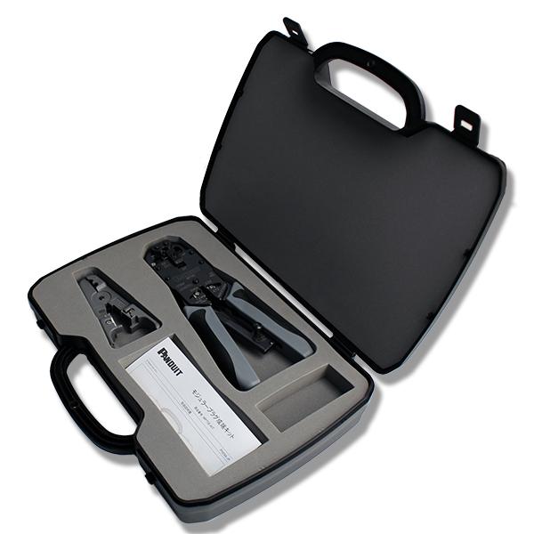 MPT5E-KIT パンドウイット RJ45プラグ用圧着工具とケーブルストリッパーの専用ケース付セット   配線   延長   ネットワーク   インターネット   LANケーブル   電話線
