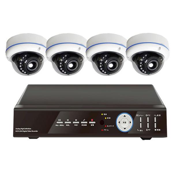 ITS-DOMCAM-SET-AD アイ・ティー・エス 屋外設置対応 赤外線付フルHDドームカメラ×4台と対応DVRのオールインワン防犯カメラシステムセット