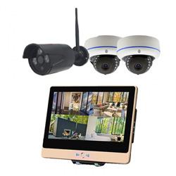 ITW-K1204EW3 屋外設置対応のフルハイビジョンWiFiカメラ3台とネットワークレコーダー機能搭載の12インチ液晶モニターセット バレットカメラ1台 ドームカメラ2台