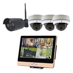 ITW-K1204EW4 屋外設置対応のフルハイビジョンWiFiカメラ4台とネットワークレコーダー機能搭載の12インチ液晶モニターセット バレットカメラ1台 ドームカメラ3台
