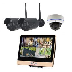 ITW-K1204EW3 屋外設置対応のフルハイビジョンWiFiカメラ3台とネットワークレコーダー機能搭載の12インチ液晶モニターセット バレットカメラ2台 ドームカメラ1台
