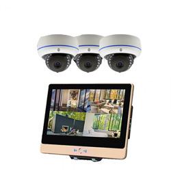 ITW-K1204EW3 屋外設置対応のフルハイビジョンWiFiカメラ3台とネットワークレコーダー機能搭載の12インチ液晶モニターセット ドームカメラ3台