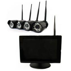W-4CAM-DVR-SET ハイビジョンワイヤレスカメラ4台とネットワーク配信機能搭載録画機能付き9インチ液晶モニターセット