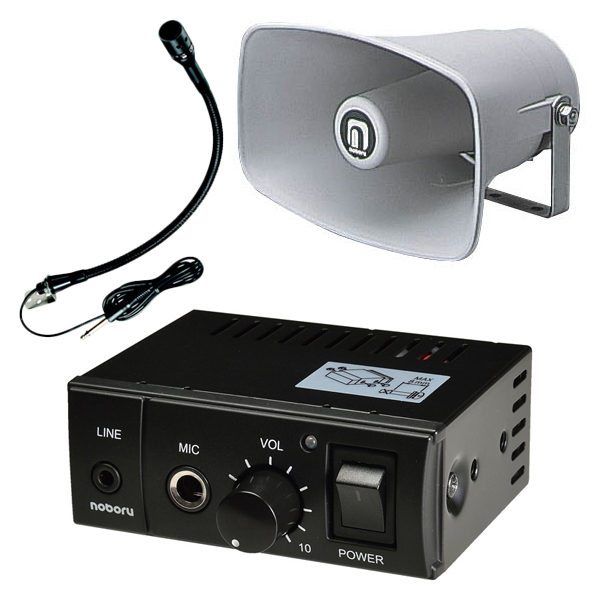 E11B2 noboru(ノボル電機製作所) マイク放送用アンプ YA-414Bと樹脂製スピーカ NP-110と建設機械用マイク MC-9115Bセット