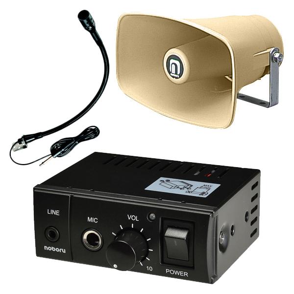 【エントリーでポイント5倍!】E11B4 noboru(ノボル電機製作所) マイク放送用アンプ YA-414Bと樹脂製ホーンスピーカ NP-110Yと建設機械用マイク MC-9115Bセット