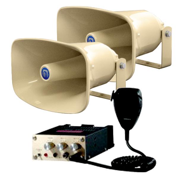 E42A2 noboru(ノボル電機製作所)マイク放送用アンプ YA-4041と樹脂製ホーンスピーカ NP-520×2セット