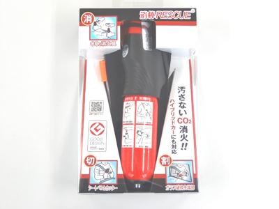 アットスカイもしものときに備えて・・・世界初3機能を搭載!1.消す! 簡易消火器2.切る シートベルトカッター3.割る ガラス破砕先端部もしものときの車両火災や緊急脱出時に役立ちます!Co2消火具消棒RESCUE