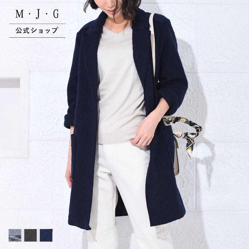 【M・J・G公式】 [SALE] エムジジェ/Iラインコート/レディース グレー杢 チャコール ネイビー アウター 上着 コート ミセス きれいめ ウール ウールライク 羊毛 暖か素材 あったか GMT626