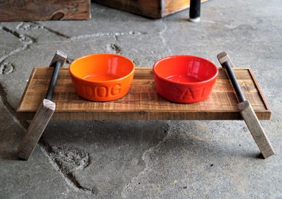 『WOOD LIFE SERVICE』Vintage PetwareFood bowl StandSize-L