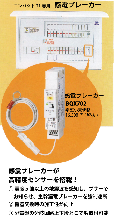 パナソニックBQE35162ZR地震かみなりあんしんばん住宅分電盤 感電ブレーカー・避雷器付きリミッターベース付主幹50A 回路数16+回路スペース2(コスモパネルコンパクト21)