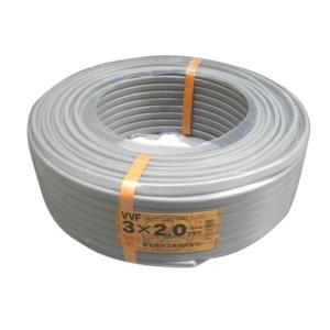 富士電線VVFケーブル2.0mm×3C 100m巻 灰色