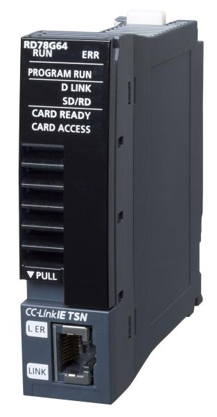 三菱電機RD78G64モーションユニット最大制御軸数:64軸最小演算周期:62.5μsCC-Link IE TSN接続位置決め制御,同期制御,速度制御,トルク制御
