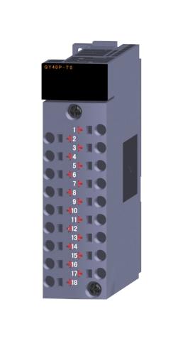 三菱電機QY40P-TSトランジスタ出力ユニット(シンクタイプ)トランジスタ出力:16点DC12~24V 0.1A/1点,1.6A/1コモン応答時間:1ms16点1コモン シンクタイプ18点表示機能付スプリングクランプ端子台