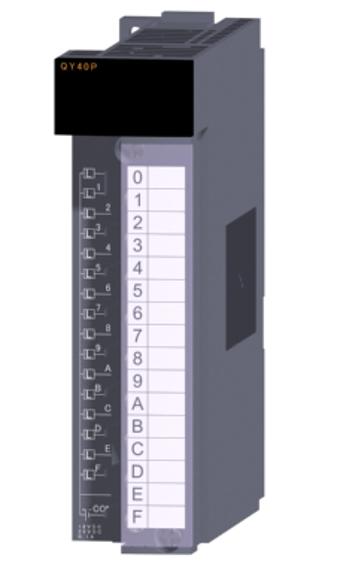 三菱電機QY40Pトランジスタ出力ユニット(シンクタイプ)トランジスタ出力:16点DC12~24V 0.1A/1点,1.6A/1コモン応答時間:1ms16点1コモン シンクタイプ18点端子台