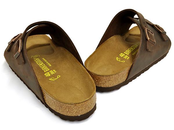 对供散步办公室使用的鞋用birukenshutokkuchurihhihabanaoirudoreza宽度(常规的宽度常规)BIRKENSTOCK ZURICH HABANA OILED LEATHER大楼肯漂亮的轻量书皮革凉鞋赤脚&袜子最合适地趿拉作为代替男子的男性用的甲高BIRKEN棕色
