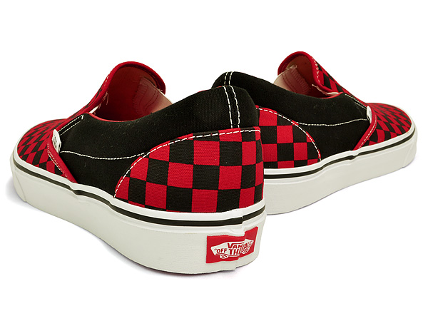 checkerboard vans black and red