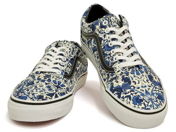 womens vans white & blue liberty old skool trainers