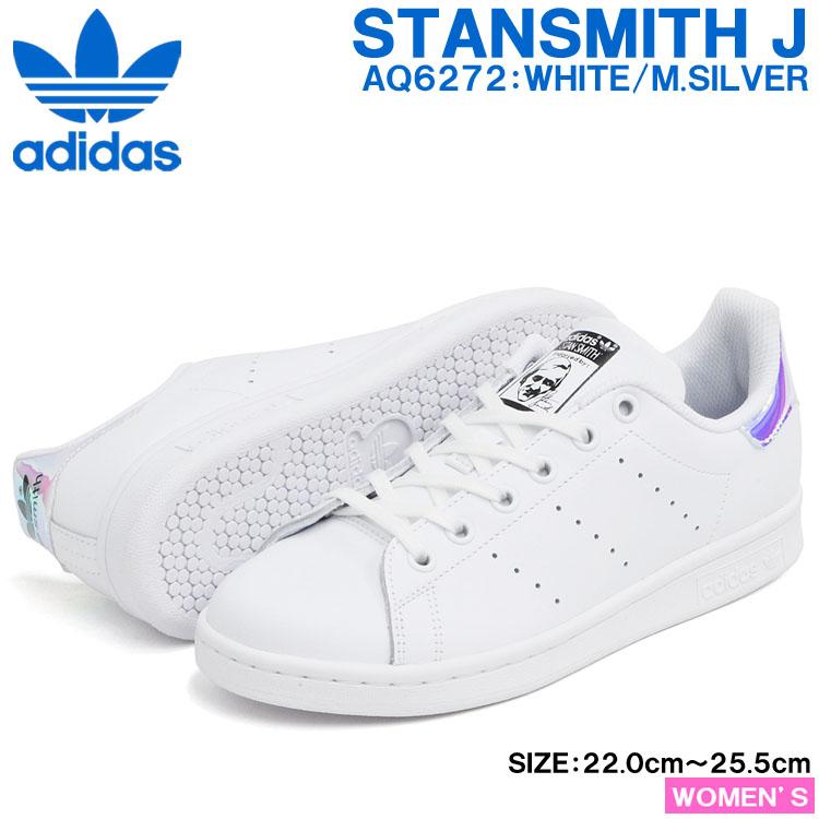 info for d30a6 dd5e0 Adidas Stan Smith J sneakers Lady's white / metallic silver / white adidas  STAN SMITH J FTWWHT/METSIL/FTWWHT AQ6272