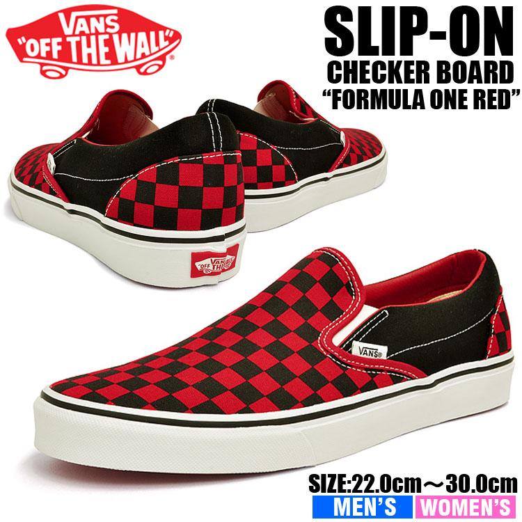 Shop \u003e red and black vans slip ons- Off