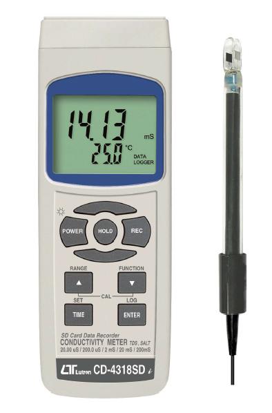 SDカードリアルタイムデータロッガ、TDS+ソルト+導電率メーター CD-4318SD