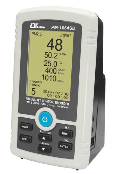 SDカードリアルタイムデータロッガ PM2.5+%RH+温度+CO2+気圧 空気品質モニターレコーダー PM-1064SD