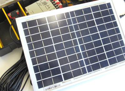 ソーラーパワーステーション(18V/0.5A→12V/1.3Ah)+DCファン+LEDパネルライト