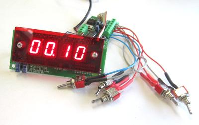 7セグLED表示付リレータイマー1秒~99分/1分~99時間 I-203+電源+スイッチセット
